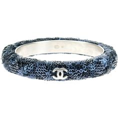 Pre-owned Chanel Navy Blue Sequin Bangle ($375) ❤ liked on Polyvore featuring jewelry, bracelets, navy jewelry, chanel bangles, pre owned jewelry, hinged bracelet and navy blue jewelry