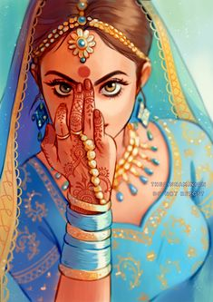 And another one for Rangeela - a dancer decked in blue and gold, her hands adorned with swirls of henna. As she enters the room, she brings her palms together and greets you with her gaze. Check out. Indian Women Painting, Indian Art Paintings, Modern Art Paintings, Abstract Paintings, Oil Paintings, Landscape Paintings, Rajasthani Art, Rajasthani Painting, Art Drawings Sketches Simple