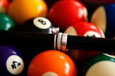 A diamond ring on a pool stick!