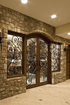 Better Homes and Gardens & My Color Finder Wine cellar addition to home with beautiful doors. p Wine cellar addition to home with beautiful doors Better Homes and Gardens My Color Finder Wine cellar addition to home with beautiful doors p House Design, Rustic House, House Interior, Beautiful Doors, House, Door Design, Home Remodeling, Wine Room, Home Decor