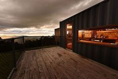 """""""the container"""" - eco-luxe-recycled - Cabins for Rent in Lilydale, Tasmania, Australia Shipping Container Homes Australia, Eco Friendly House, Rustic Elegance, Home Photo, Eclectic Decor, Tasmania, Home Look, Home Living Room, Unique Vintage"""