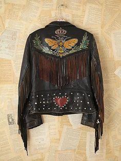 Vintage Melanie Bendavid Hand-Painted Leather Jacket
