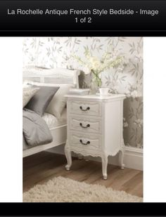 La Rochelle French style bedside table. Get one for each side of the bed.  W50xD40xH76cm