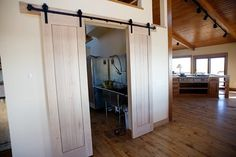 An alternative to french doors...avoiding a hinged swinging door is nice.
