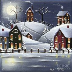 Snowflake Cove Art Print by Catherine Holman. All prints are professionally printed, packaged, and shipped within 3 - 4 business days. Choose from multiple sizes and hundreds of frame and mat options. Christmas Scenes, Christmas Art, Little Cottages, Winter Art, Winter Painting, Winter Snow, Winter Scenery, Christmas Paintings, Art Pages