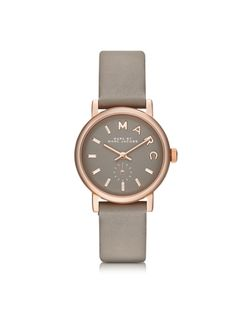 Marc by Marc Jacobs Baker 28 MM Gray Leather Strap and Rose Gold Stainless Steel Women's Watch