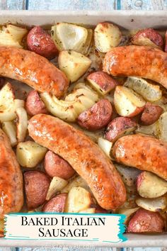 In this easy recipe, Italian sausage is baked on a sheet pan with seasoned potatoes and onions. Sheet pan dinners are so convenient it's no wonder they're such a popular weeknight dinner option. Baked Italian Sausage, Seasoned Potatoes, Cooking For Beginners, Easy Family Dinners, Baked Chicken, Quick Meals, Sheet Pan, Onions, Casserole