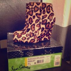 Sam Edelman Calf hair leopard print wedges Like new condition! 4 inch wedges are easier to walk in then you would think! Boots are a real show stopper! Sam Edelman Shoes Ankle Boots & Booties