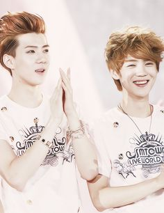 Sehun and Luhan. Pinned this just because of Sehun's awesome hairstyle.