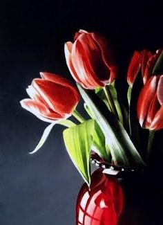 Tulips in Red Vasepainting  \\ watercolor \\ by artist Jacqueline Gnott