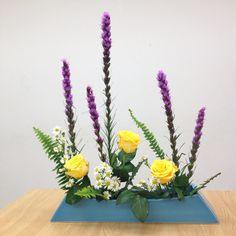 日本 生け花 小原流 花意匠 ならぶかたち リアトリス バラ Japanese style floral arrangement Ohara style Hana-Isho one-row form