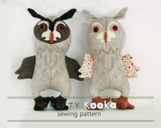 Owl pattern  animal sewing pattern owl toy sewing pattern