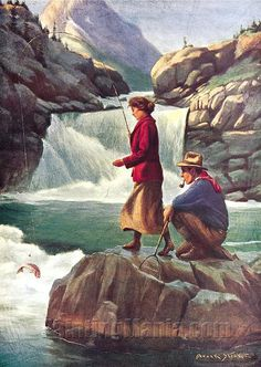 Man and Woman Fishing by Philip Goodwin