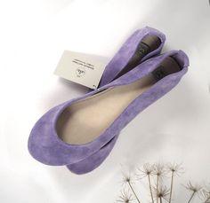 Glicine Light Violet Suede Leather Handmade Ballet Flats. $98.00, via Etsy.