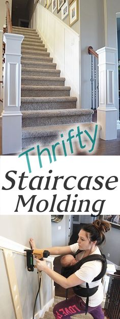 Home Remodeling Diy Staircase Makeover: How to Install molding - Remington Avenue - Today Im sharing a staircase makeover, How to install staircase molding in an inexpensive way Staircase Molding, Diy Molding, Molding Ideas, Stairway Wainscoting, Stair Paneling, Wood Crown Molding, Iron Staircase, Wainscoting Ideas, Wall Molding