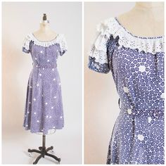 1930s Vintage Dress Purple Printed Cotton Vintage 30s Day Dress by Mode O Day Size Large by stutterinmama on Etsy https://www.etsy.com/listing/250579458/1930s-vintage-dress-purple-printed