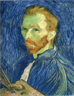 My Mom & I saw this at the Norton Simon Museum, on loan from a museum in Washington. Another Van Gogh fave' of my Moms & mine! Self Portrait with Pallette. Arles-sur-tech: 1889. Vincent van Gogh