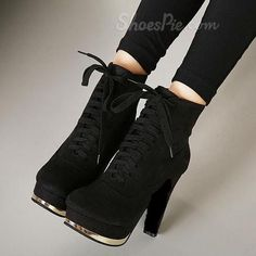 Attractive Suede Crisscross Lace-up Chunky Boots - http://elegantshoegirl.com/product/attractive-suede-crisscross-lace-up-chunky-boots/