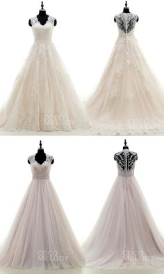 Hot Sale A-line Tulle And Lace Wedding Dresses With Appliques . #weddingdresses…