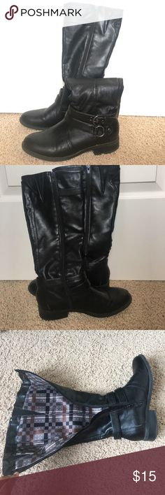 Black frye boots Still in good condition. Elastic at the top to stretch for those with bigger calves. Shoes Combat & Moto Boots