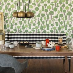midcentury furnishings brought to life with vibrant green wallpaper #green #interior #design #midcentury #home #style