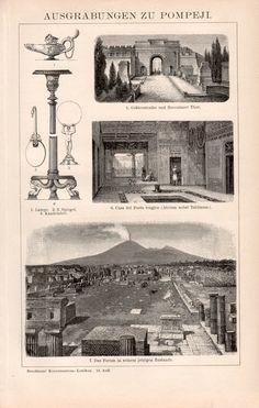 1898 Pompeii Archaeological Site Illustration by Craftissimo