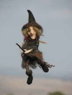 Halloween witch on broomstick needle felted by Made4uByMagic