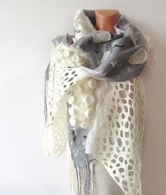 Nuno felted scarf - Grey White lace