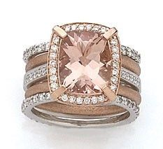 18kt White and Rose Gold Ring with Cushion Cut Morganite Accent with Diamonds.