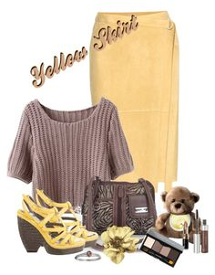 """""""Yellow Skirt"""" by lorrainekeenan ❤ liked on Polyvore featuring MultiSac, Balenciaga, Lord & Taylor, Anastasia Beverly Hills and Bobbi Brown Cosmetics"""