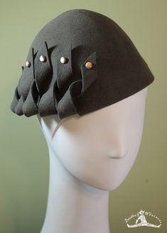 Gray Hand Blocked Wool Hat - 1930s Style Hat - Dark Gray Wool Hat - Gray Women's Hat - Gray Beanie Cloche Hat -  OOAK