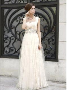 A-Line/Princess Sweetheart Floor-Length Taffeta  Tulle Prom Dresses With Ruffle  Beading (018005043)