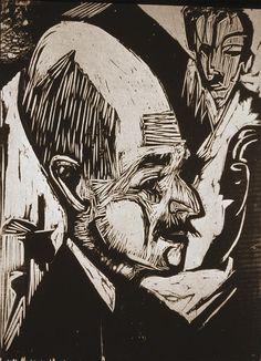 Ernst Ludwig Kirchner (1880 -1938 Na het uiteenvallen van Die Brücke werkt hij door, maar slaagt hij er niet in zijn stijl verder te ontwikkelen. Als hij in 1914 in dienst gaat (naar eigen zeggen als 'onvrijwillig vrijwilliger'), kan hij dit niet doorstaan. In 1915 stort hij in, waarna hij uit de krijgsdienst ontslagen wordt. Hij wordt dan behandeld in verschillende sanatoria, om daar van zijn drugsverslavingen, achtervolgingswaan en verlammingsverschijnselen af te komen.