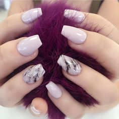 Pale purple and marble nails