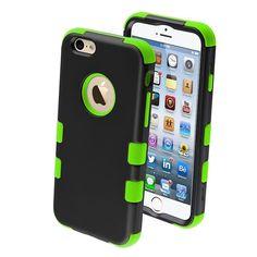 iPhone 6 Hard&Soft Rubber Hybrid Armor Impact Defender Skin Case Black Green