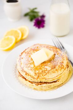 Lemon Ricotta Pancakes - Cooking Classy. Made these for Easter breakfast, served with quick blueberry syrup.