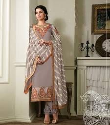 Buy Grey embroidered georgette semi stitched salwar with dupatta party-wear-salwar-kameez online
