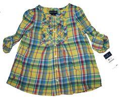 NWT Ralph Lauren Girls Short Sleeves Multicolor Twill Top Shirt Blouse Size 2T #RalphLauren #Everyday