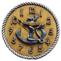 Nautical Anchor, Nautical Home, Anchor Rope, Nautical Theme Decor, Personalized Signs, Original Artwork, Clock, Carving, Hand Painted