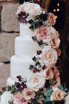 Wedding Cake Photos, Floral Wedding Cakes, White Wedding Cakes, Elegant Wedding Cakes, Wedding Cakes With Flowers, Cool Wedding Cakes, Beautiful Wedding Cakes, Wedding Cake Designs, Chic Wedding