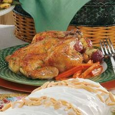 """Cornish Hens with Veggies Recipe -""""It's easy to serve an elegant dinner when these nicely seasoned game hens with roasted vegetables are on the menu,"""" remarks Arlene Lauritzen of Genoa, Illinois. """"This bountiful platter makes such a pretty presentation for a special occasion."""""""