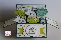 Stampin' Up! A Little Wild, New 2017 - 2018 catalogue. Baby card in a box card i made using A Little Wild, Zoo Babies & Foxy Friends stampsets & Naturally Eclectic designer series paper. - Stamp With Rachel -