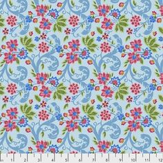Fabric Exotic Voyage, by Odile Bailloeul from Jardin de la Reine Collection for Free Spirit, PWOB036 SKY - continuous yardage in 1/2 yd installments