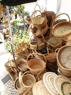 Baskets in a Portugese market