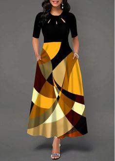 Party Dresses For Women Half Sleeve Geometric Print Pocket Maxi Dress Tight Dresses, Casual Dresses, Maxi Dresses, Trendy Dresses, Outfit Formal, Popular Dresses, Maxi Dress With Sleeves, Short Sleeve Dresses, Club Party Dresses