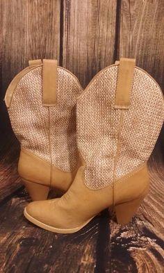 78afa2eb2f49 Sbicca of California Braided Mid-Calf Heel Cowboy Western Boot Size 10   Sbicca