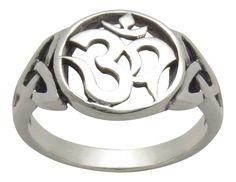 OM (AUM) and Celtic Sterling Silver Ring