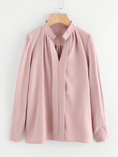 Shop Plus Solid V-neck Blouse online. SHEIN offers Plus Solid V-neck Blouse & more to fit your fashionable needs. Blouse Col V, V Neck Blouse, Stand Collar Shirt, Collar Shirts, Shirt Blouses, Faux Col, Plain Tops, Moda Plus Size, Mode Hijab
