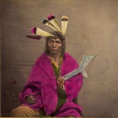 Hand colored sitting studio portrait of an unidentified Native American (Chippewa) chief - Whitney's Gallery - 1872/1890