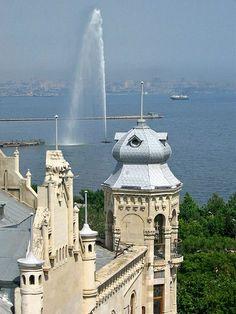 Caspian Sea and Hajinski Mansion, Baku, Azerbaijan
